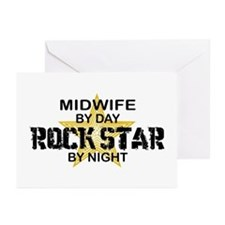 Midwife Rock Star by Night Greeting Cards (Pk of 1