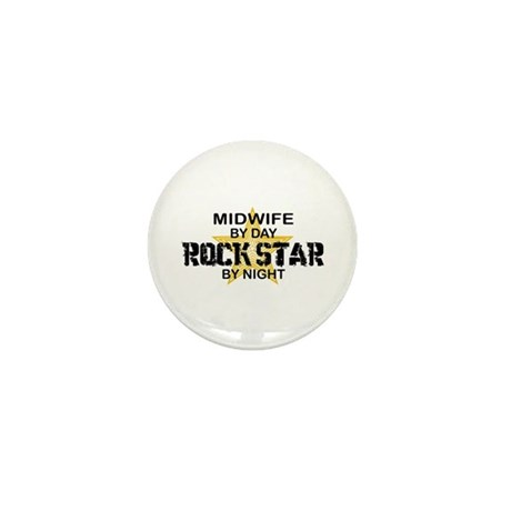 Midwife Rock Star by Night Mini Button