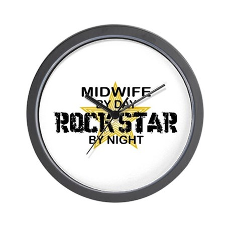 Midwife Rock Star by Night Wall Clock