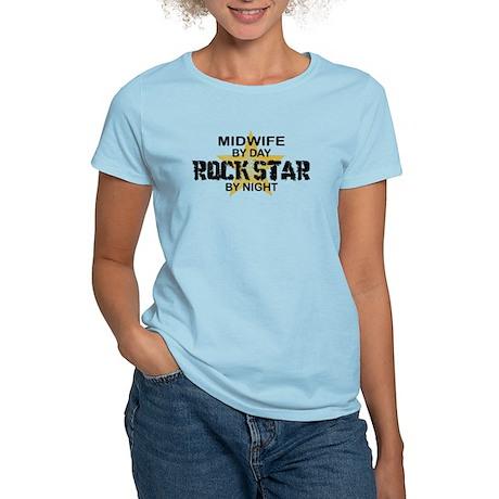 Midwife Rock Star by Night Women's Light T-Shirt