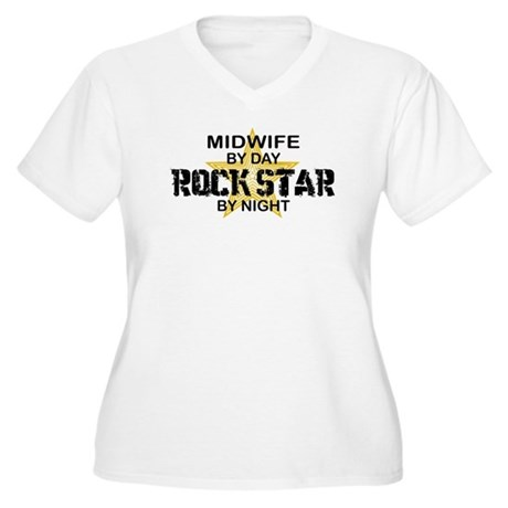 Midwife Rock Star by Night Women's Plus Size V-Nec