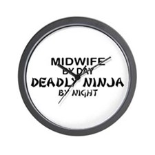 Midwife Deadly Ninja by Night Wall Clock