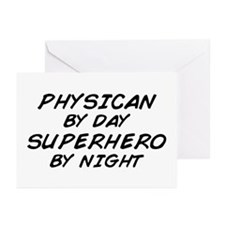 Physician Superhero by Night Greeting Cards (Pk of