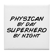 Physician Superhero by Night Tile Coaster