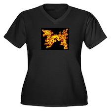 Old Fire Dragon Women's Plus Size V-Neck Dark T-Sh