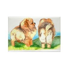 Pom Pups on Grass Rectangle Magnet