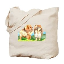 Pom Pups on Grass Tote Bag