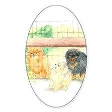 Poms in Yard Oval Decal