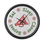Eat Sleep Cheer Large Wall Clock