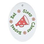 Eat Sleep Cheer Oval Ornament