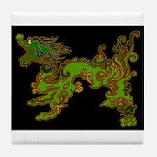 Old Wood Dragon Tile Coaster