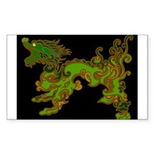 Old Wood Dragon Rectangle Decal