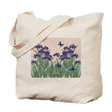Japanese Iris & Butterflies Tote Bag