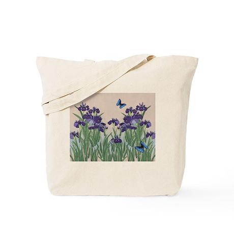 Japanese Iris & Butterflies Tote Bag