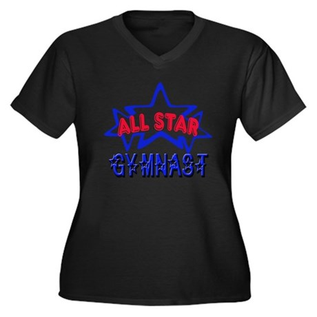 All Star Gymnast Women's Plus Size V-Neck Dark T-S