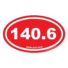 140.6 Swim Bike Run Ironman Red Oval Decal