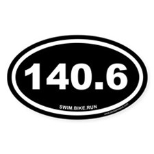 140.6 Swim Bike Run Ironman Black Oval Decal
