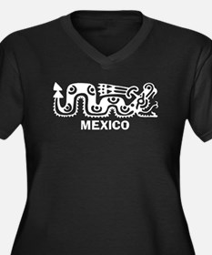 Aztec Mexico Women's Plus Size V-Neck Dark T-Shirt