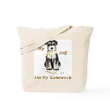 Miniature Schnauzer Ate Homework Tote Bag