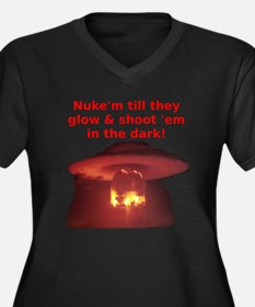 Unique Nuke Women's Plus Size V-Neck Dark T-Shirt