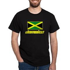 Jamaica T-Shirt - Black with Jamaica Flag