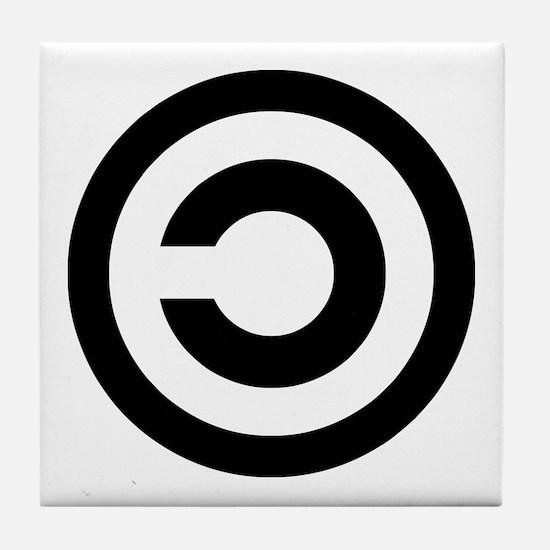 copyleft symbol Tile Coaster