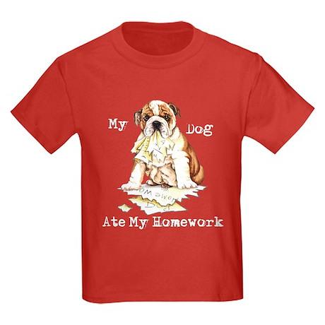 Bulldog Ate Homework Kids Dark T-Shirt