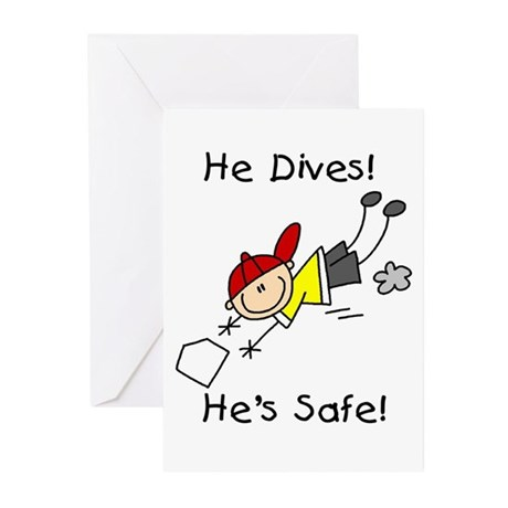 He Dives He's Safe Greeting Cards (Pk of 10)