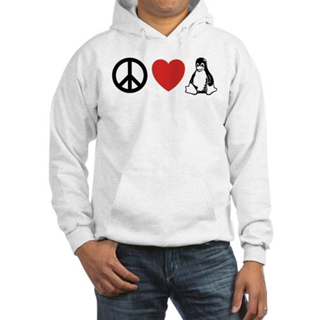 peace love linux Hooded Sweatshirt
