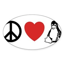 peace love linux Oval Decal