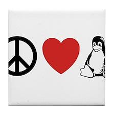 peace love linux Tile Coaster