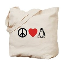 peace love linux Tote Bag