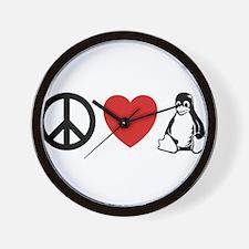 peace love linux Wall Clock