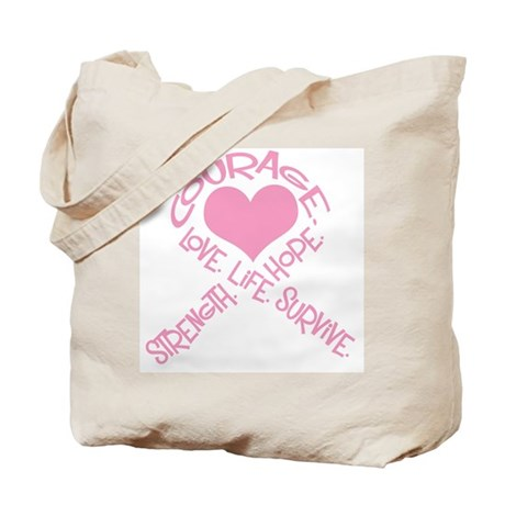 Pink Ribbon of Words Tote Bag