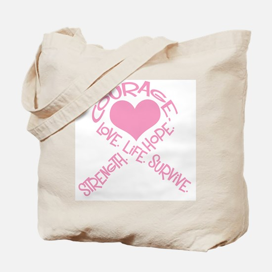 Pink Ribbon of Words Tote Bag
