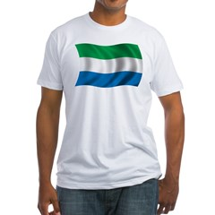 Wavy Sierra Leone Flag Fitted T-Shirt