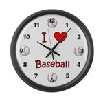 I Love Baseball Large Wall Clock