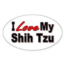 I Love My Shih Tzu Oval Decal