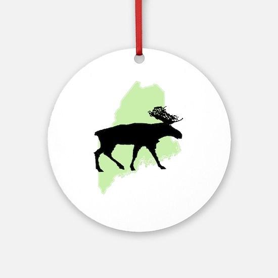 Go Green Maine Moose Ornament (Round)