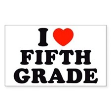 I Heart/Love Fifth Grade Rectangle Decal