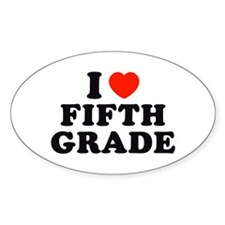 I Heart/Love Fifth Grade Oval Decal