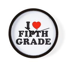 I Heart/Love Fifth Grade Wall Clock