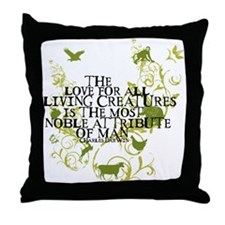 Darwin Noble - Animals and Floral Throw Pillow