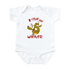 I love my Wiener dog (brown) Infant Bodysuit