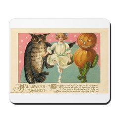 Girl Owl & Pumpkin Mousepad
