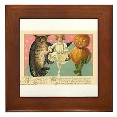 Girl Owl & Pumpkin Framed Tile