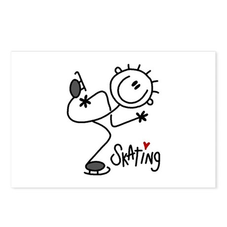 Stick Figure Ice Skating Postcards (Package of 8)