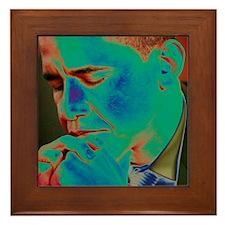Obama Praying Framed Tile