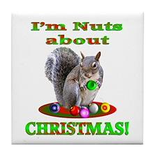 Squirrel Christmas Tile Coaster