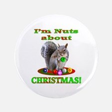 "Squirrel Christmas 3.5"" Button (100 pack)"
